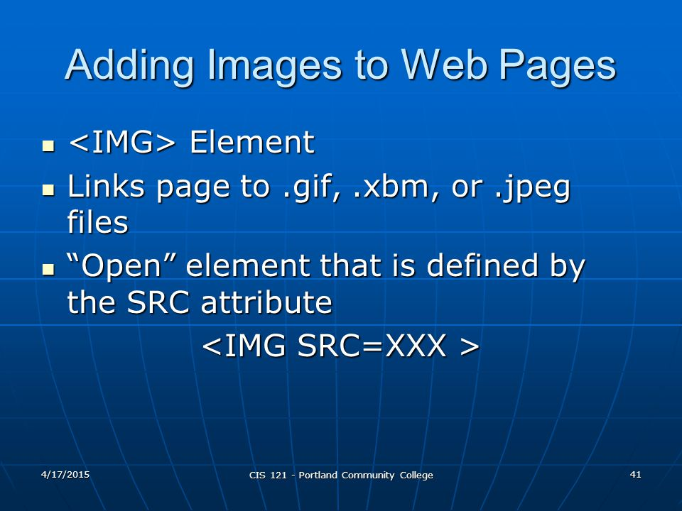 Adding Images to Web Pages