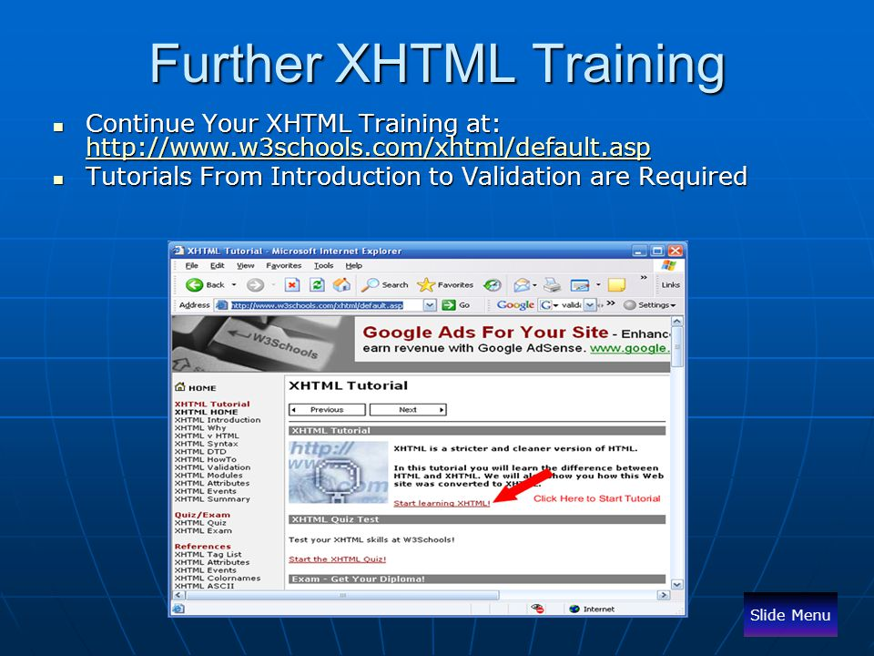 Further XHTML Training