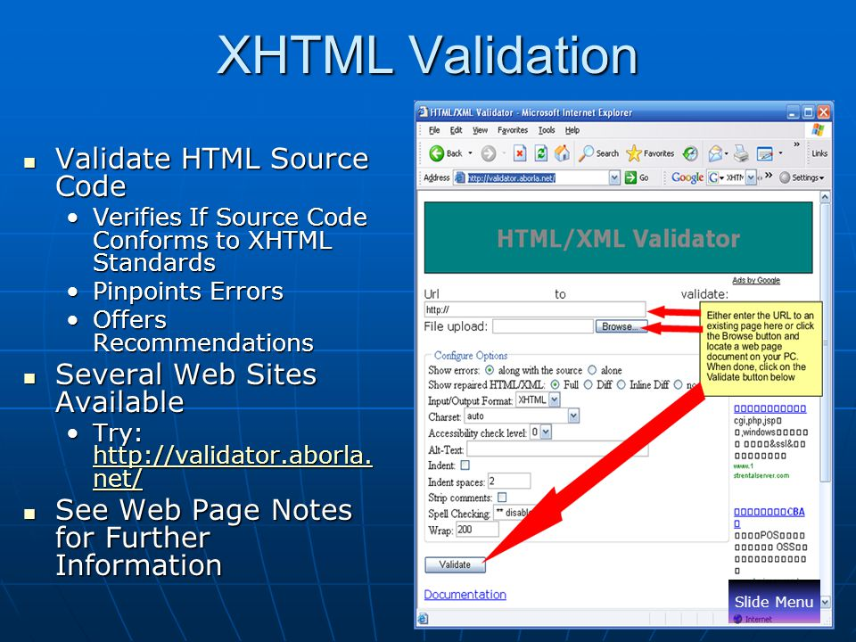 XHTML Validation Validate HTML Source Code Several Web Sites Available