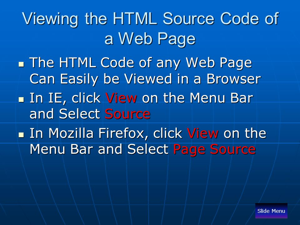 Viewing the HTML Source Code of a Web Page