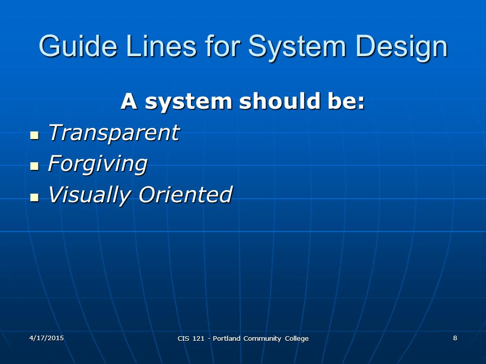 Guide Lines for System Design