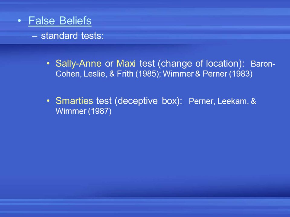 False Beliefs standard tests: