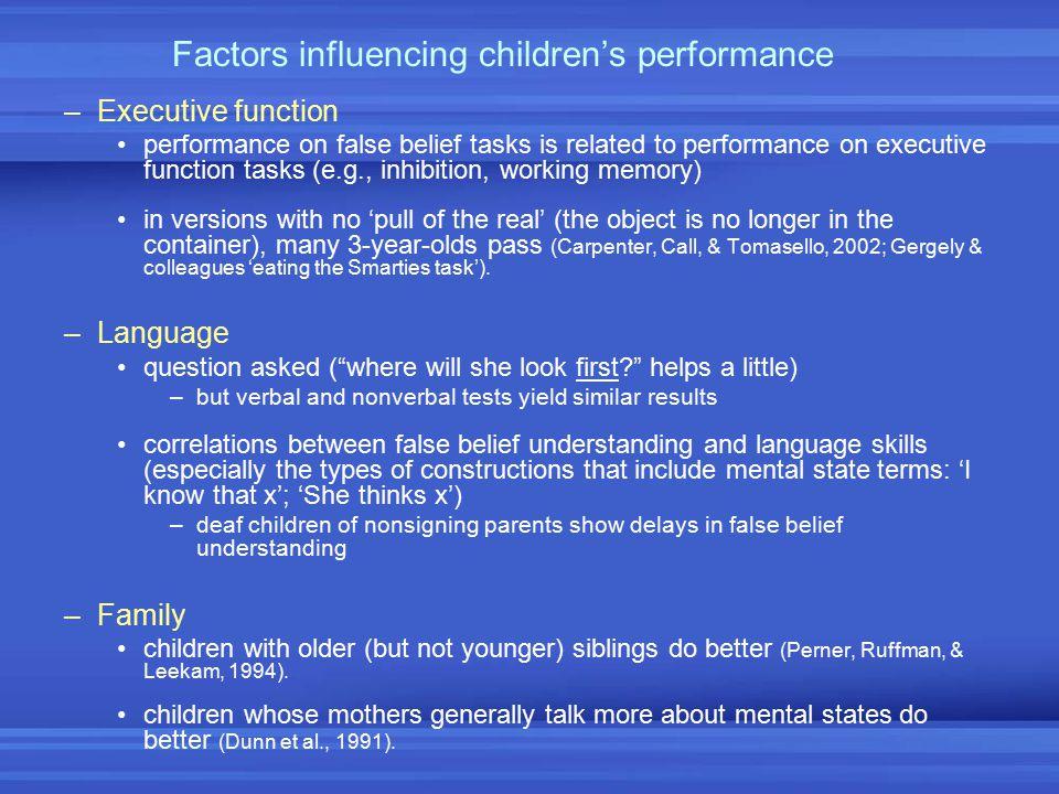 Factors influencing children's performance