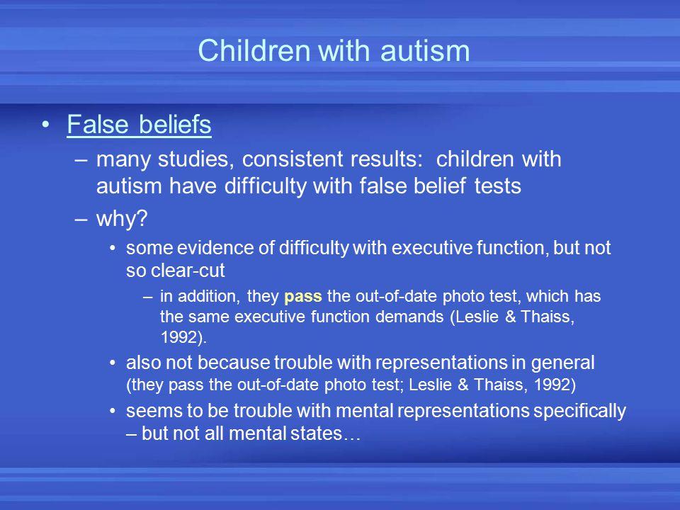 Children with autism False beliefs