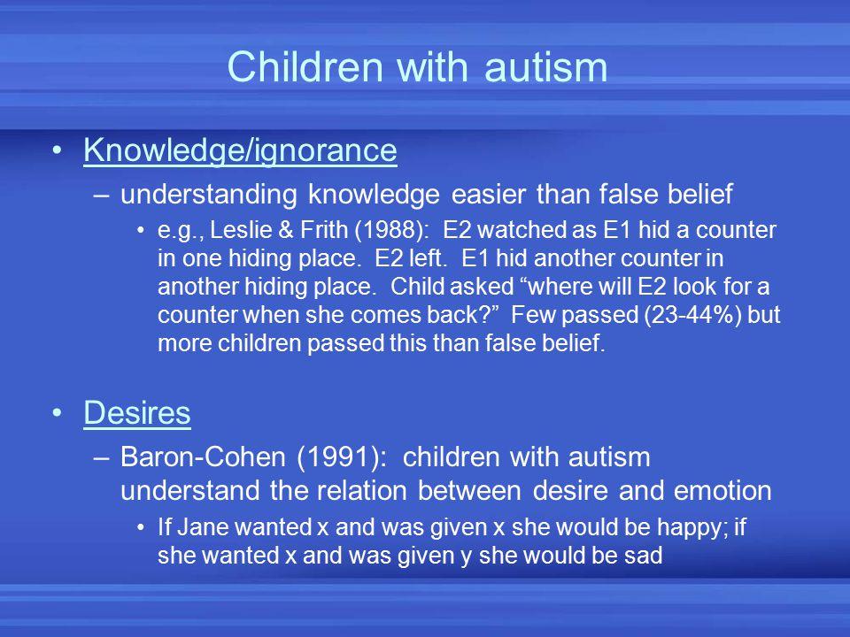 Children with autism Knowledge/ignorance Desires