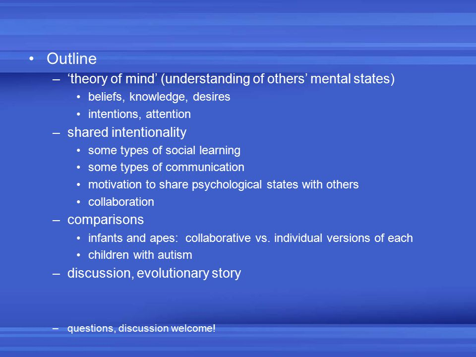 Outline 'theory of mind' (understanding of others' mental states)