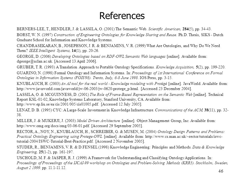 References BERNERS-LEE, T., HENDLER, J. & LASSILA, O. (2001) The Semantic Web. Scientific American, 284(5), pp. 34-43.