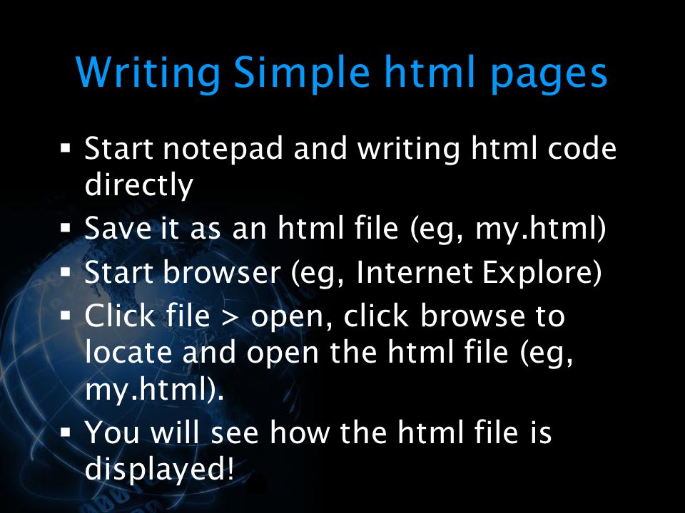 Writing Simple html pages