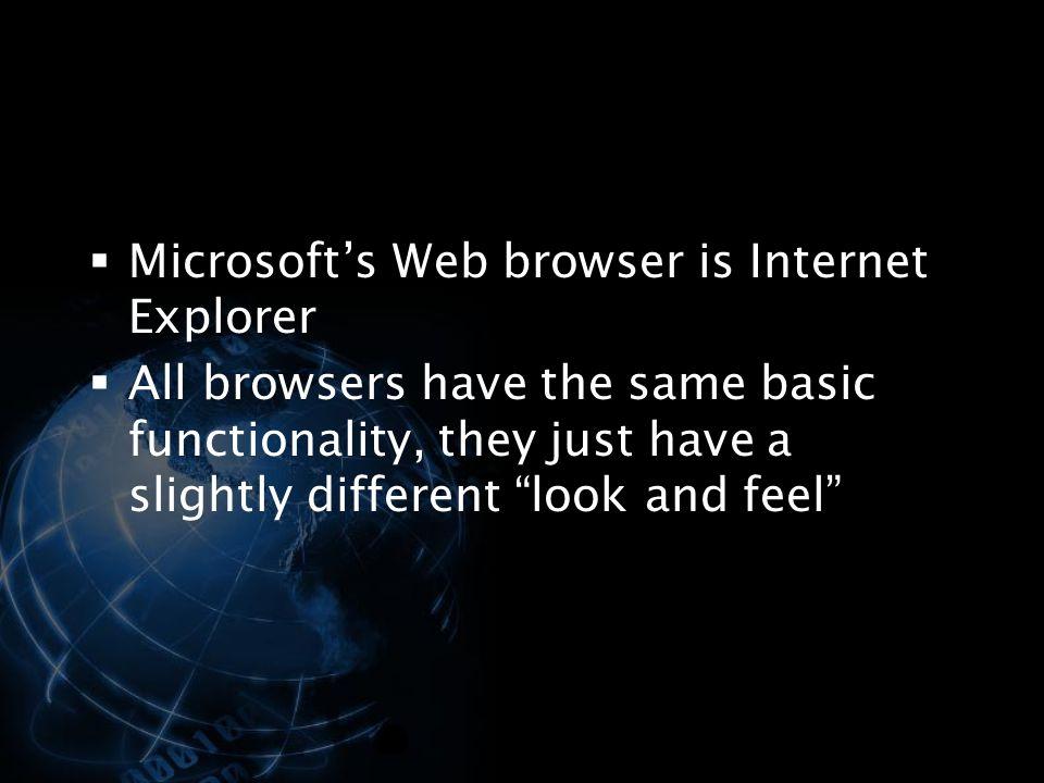 Microsoft's Web browser is Internet Explorer