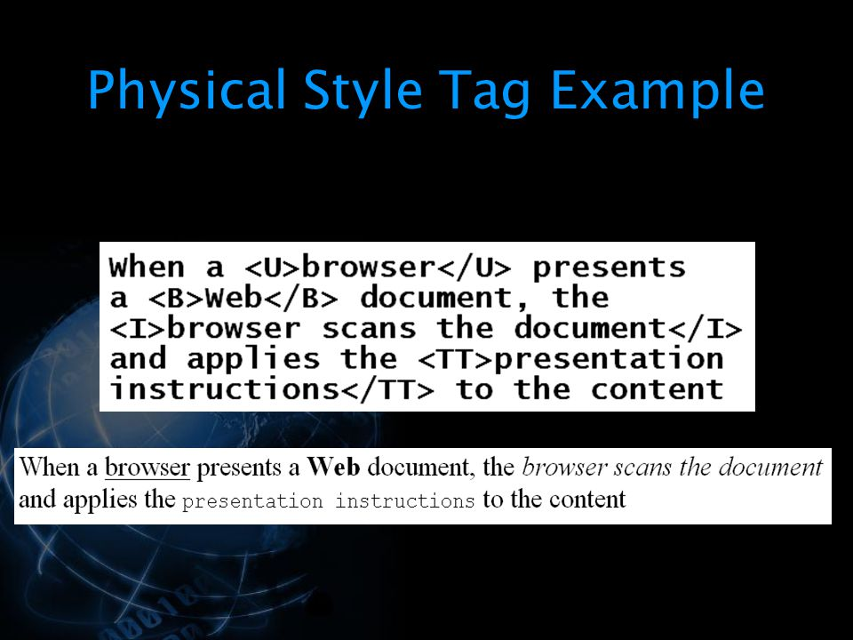 Physical Style Tag Example