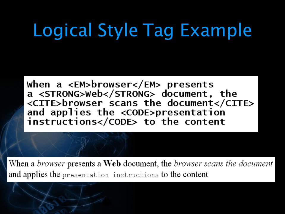 Logical Style Tag Example