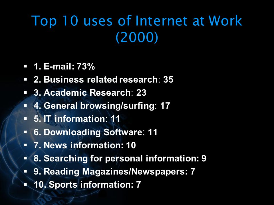 Top 10 uses of Internet at Work (2000)
