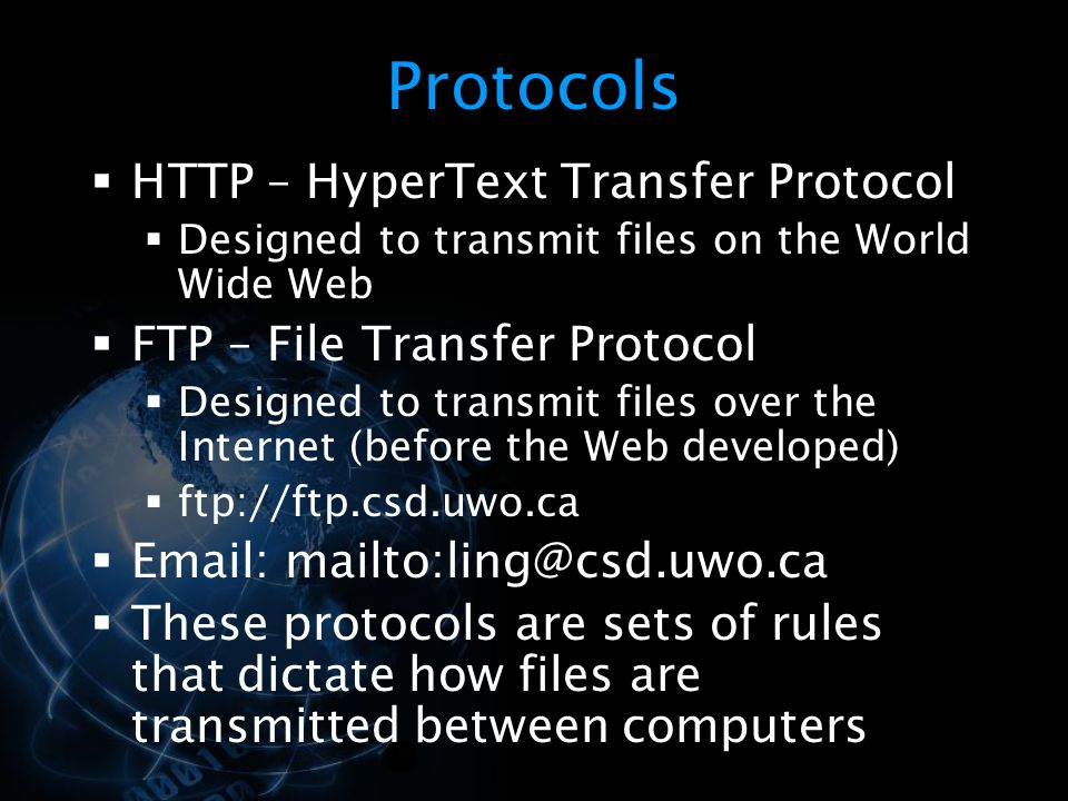 Protocols HTTP – HyperText Transfer Protocol