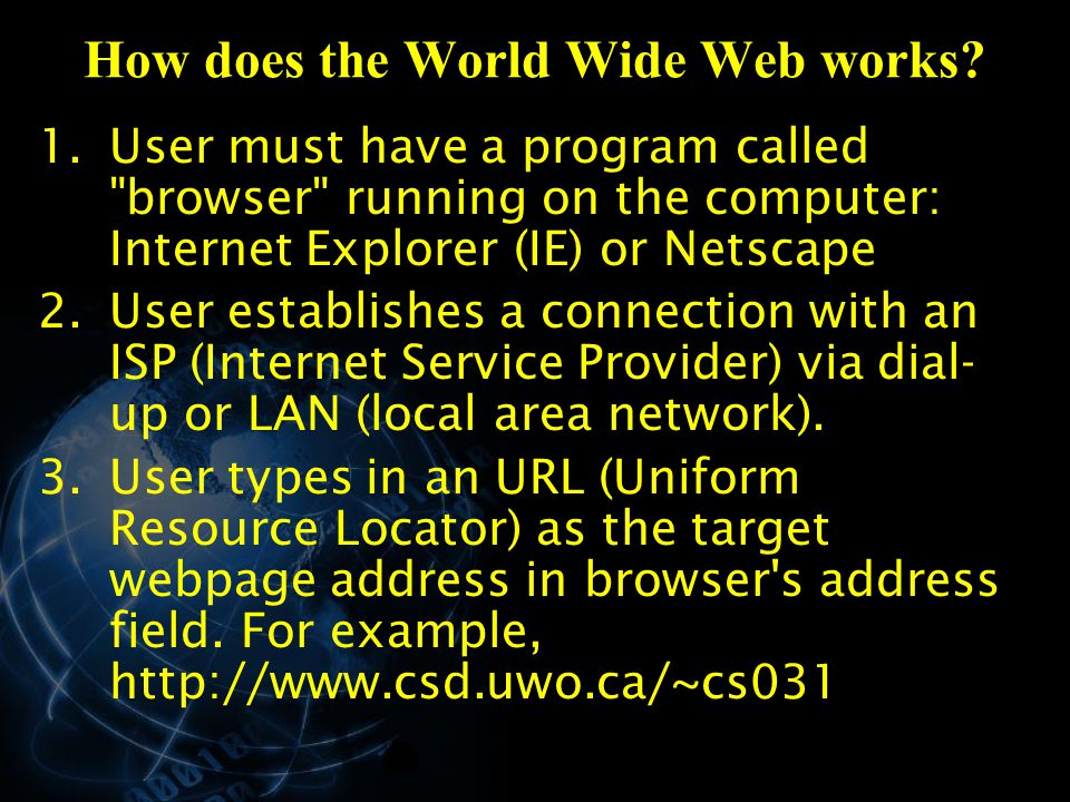 How does the World Wide Web works