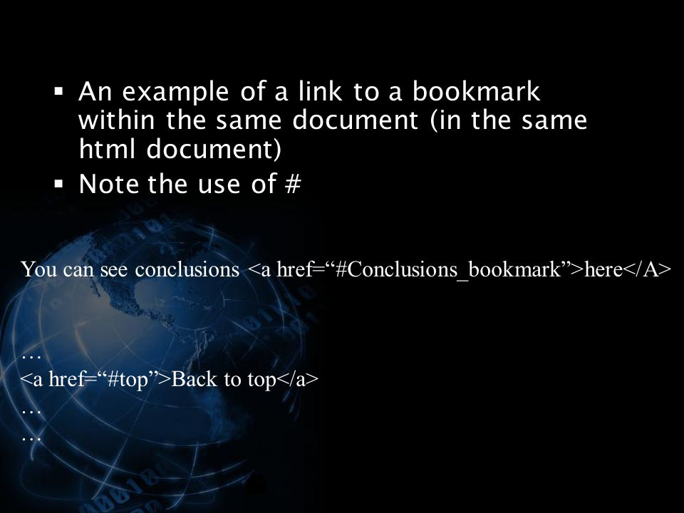 An example of a link to a bookmark within the same document (in the same html document)