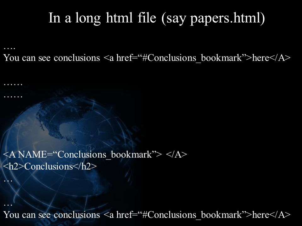 In a long html file (say papers.html)