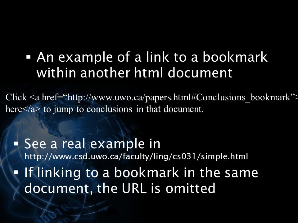 An example of a link to a bookmark within another html document