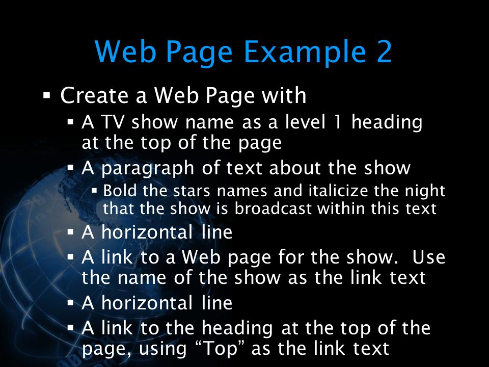 Web Page Example 2 Create a Web Page with