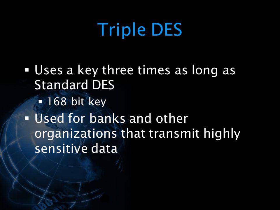 Triple DES Uses a key three times as long as Standard DES