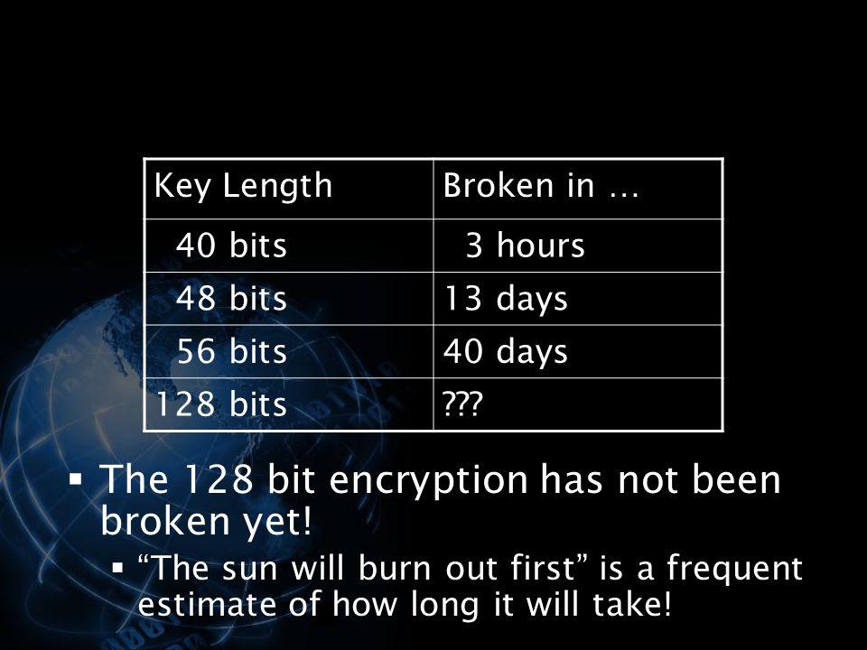 The 128 bit encryption has not been broken yet!