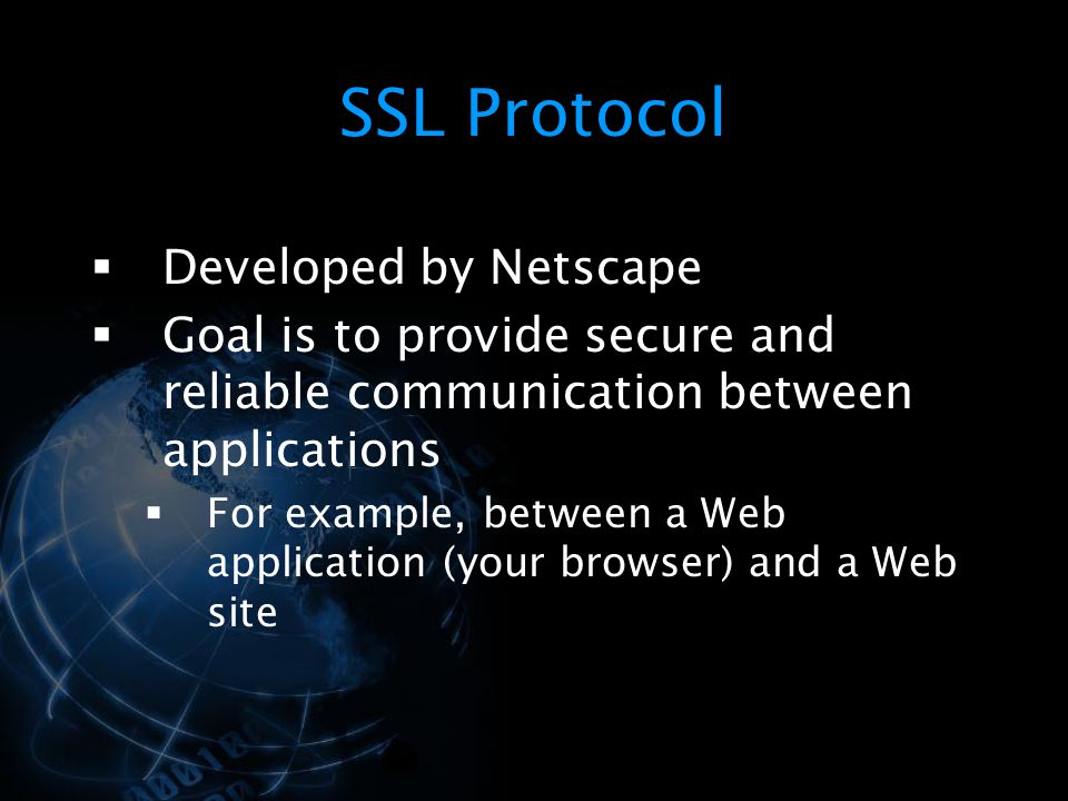SSL Protocol Developed by Netscape