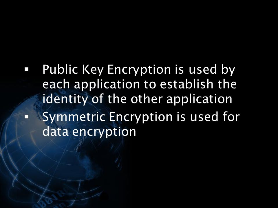 Public Key Encryption is used by each application to establish the identity of the other application