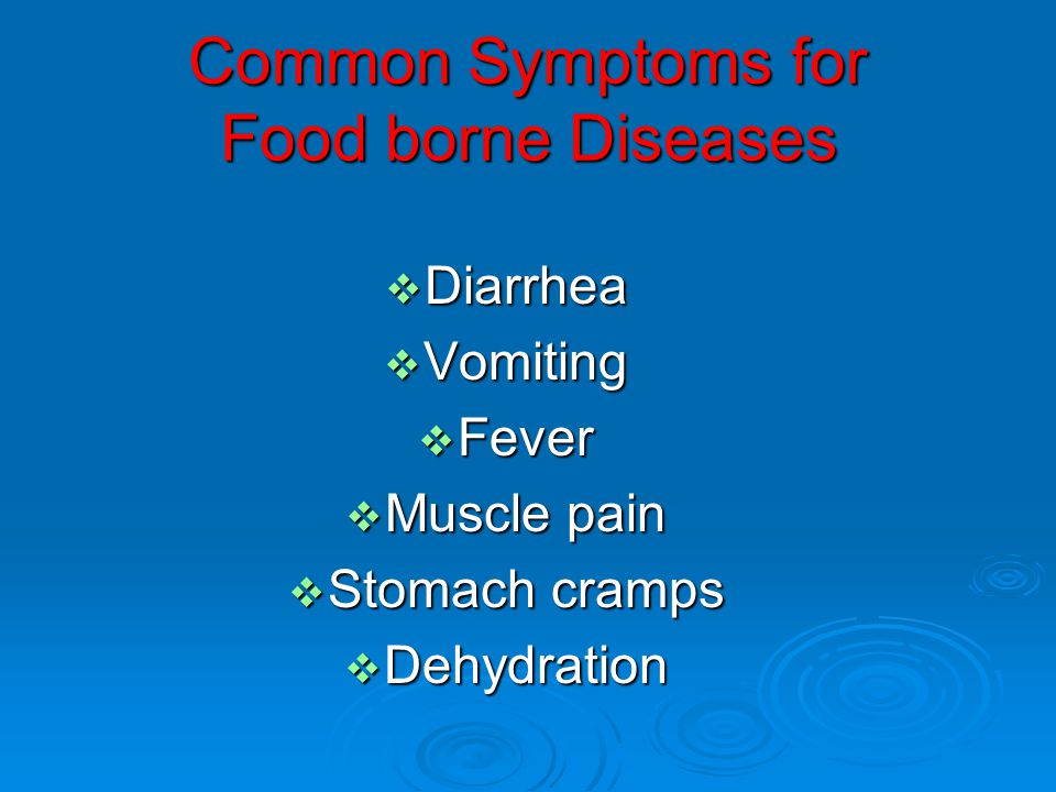 Common Symptoms for Food borne Diseases