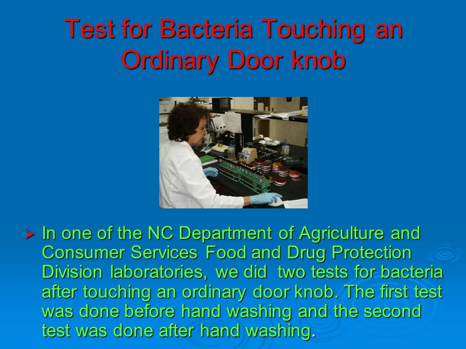 Test for Bacteria Touching an Ordinary Door knob