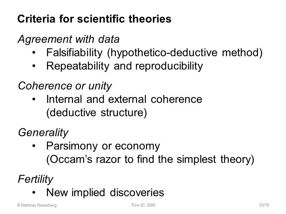 Criteria for scientific theories