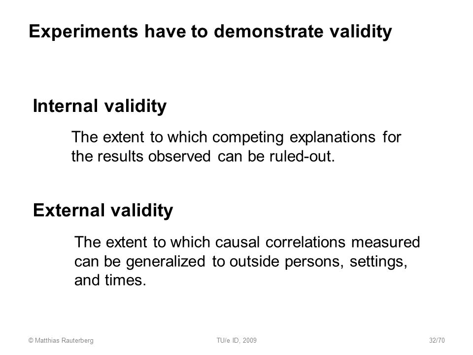 Experiments have to demonstrate validity