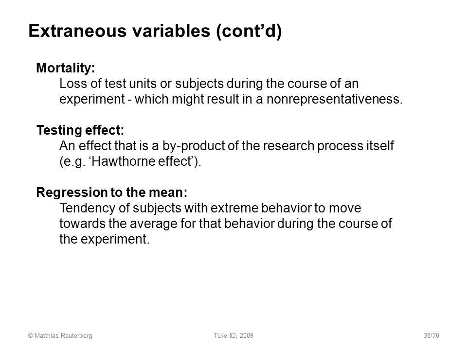 Extraneous variables (cont'd)