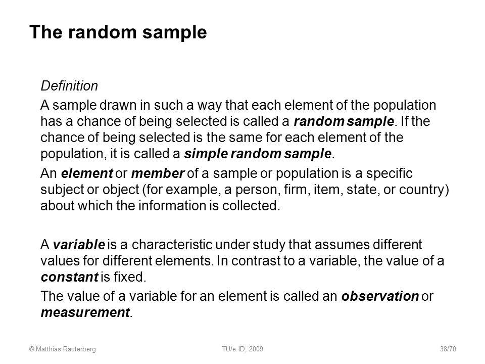 The random sample Definition