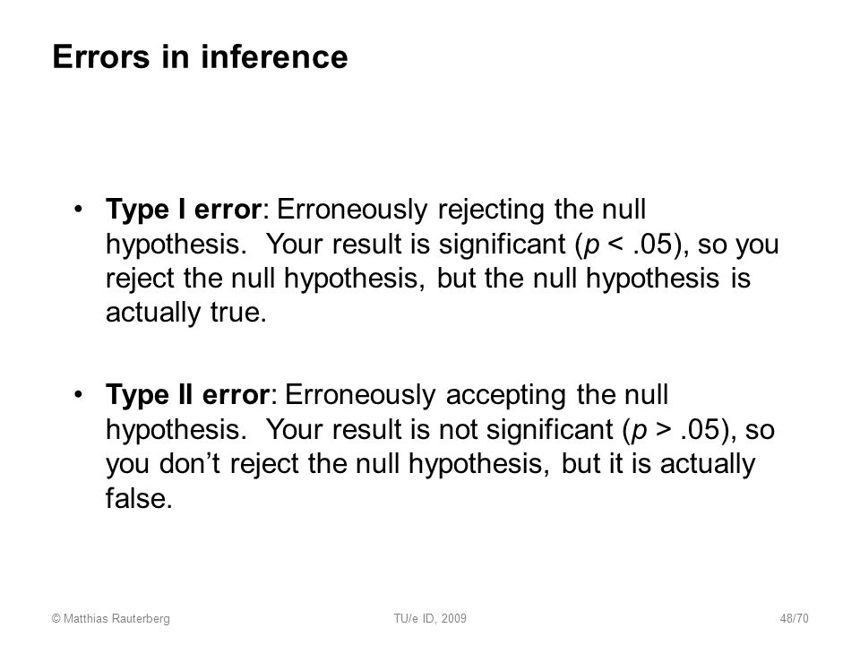 Errors in inference