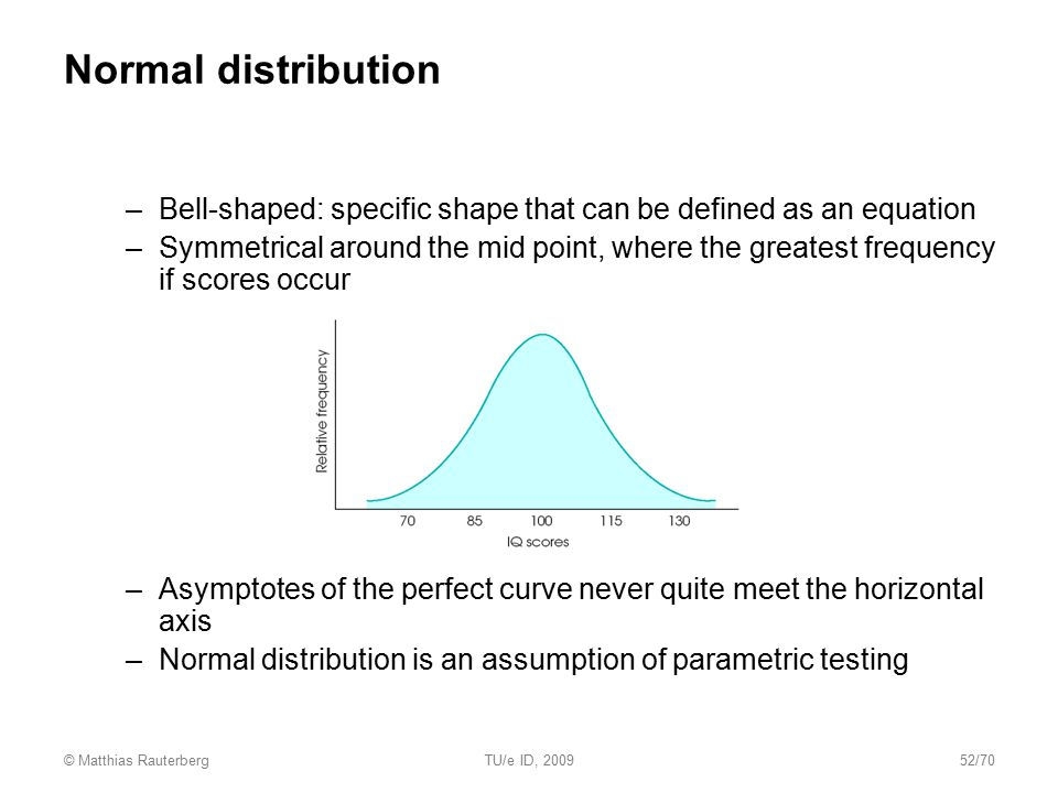 Normal distribution Bell-shaped: specific shape that can be defined as an equation.