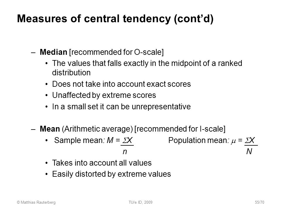 Measures of central tendency (cont'd)