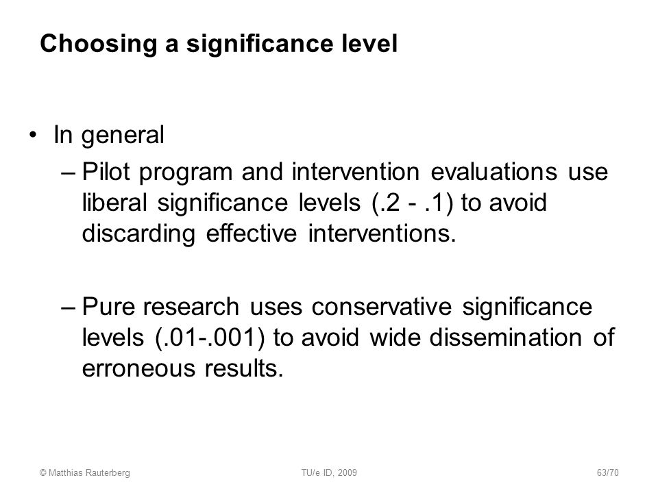 Choosing a significance level