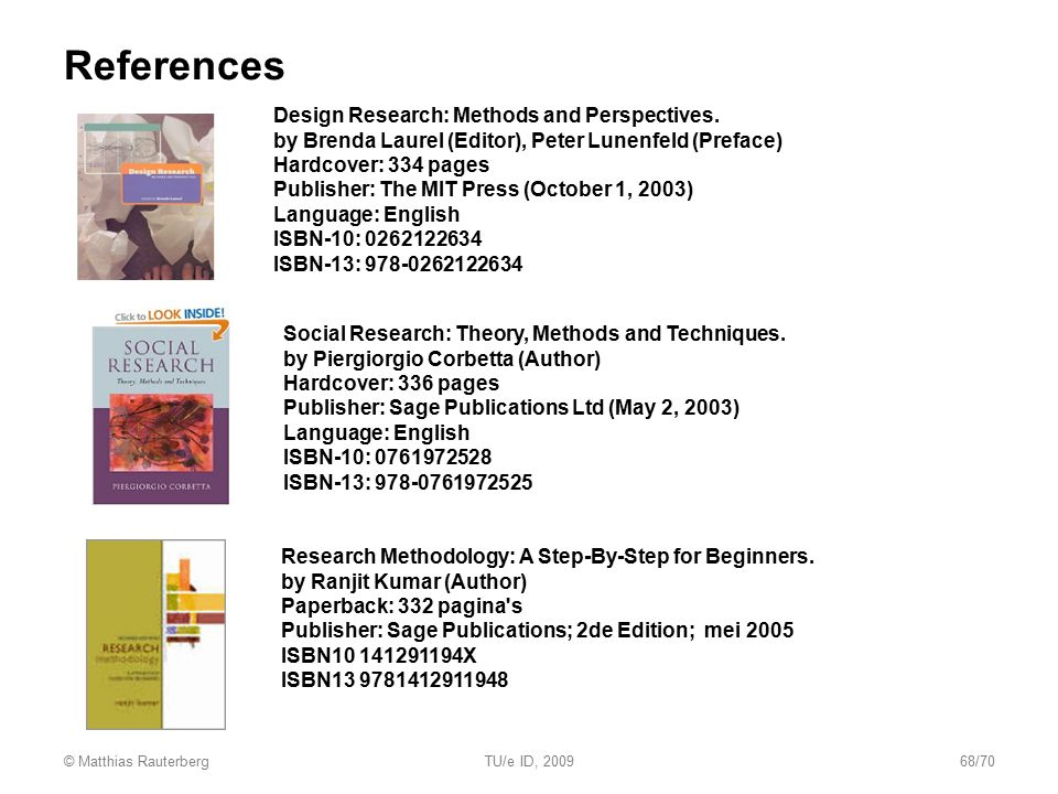 References Design Research: Methods and Perspectives.