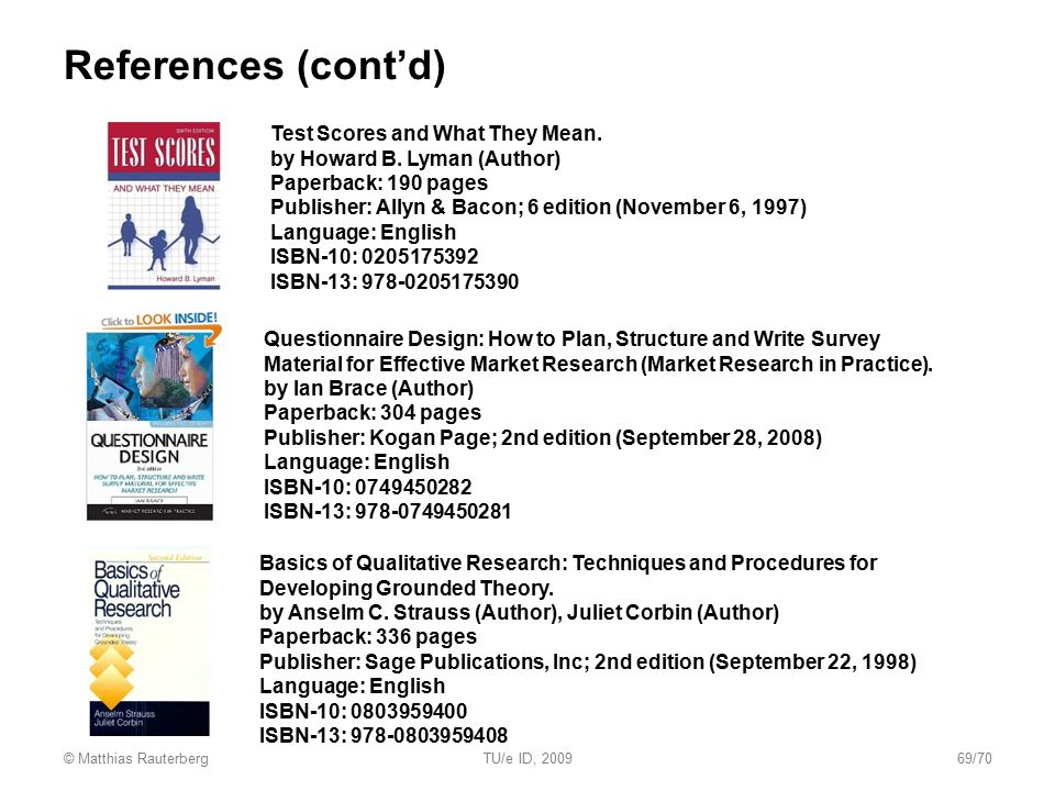 References (cont'd) Test Scores and What They Mean.