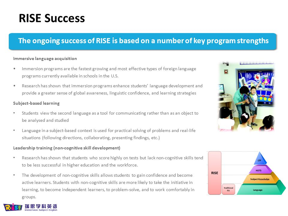 RISE Success The ongoing success of RISE is based on a number of key program strengths. Immersive language acquisition.