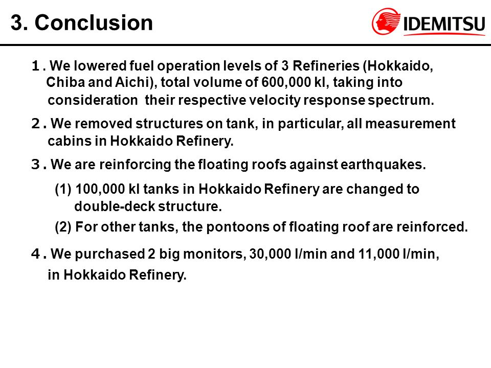 3. Conclusion 1. We lowered fuel operation levels of 3 Refineries (Hokkaido, Chiba and Aichi), total volume of 600,000 kl, taking into.