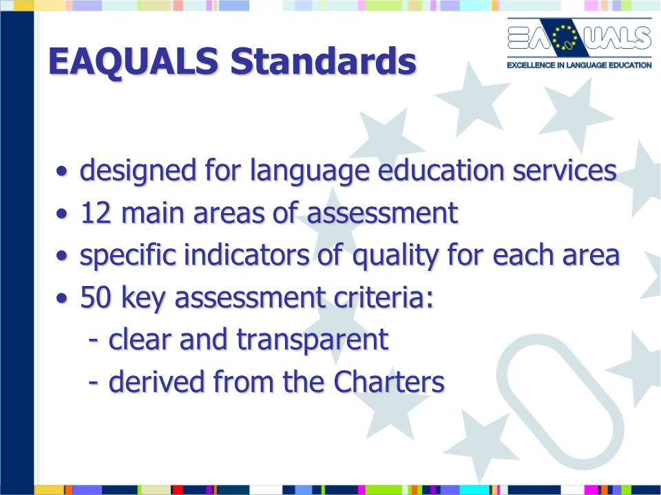 EAQUALS Standards designed for language education services