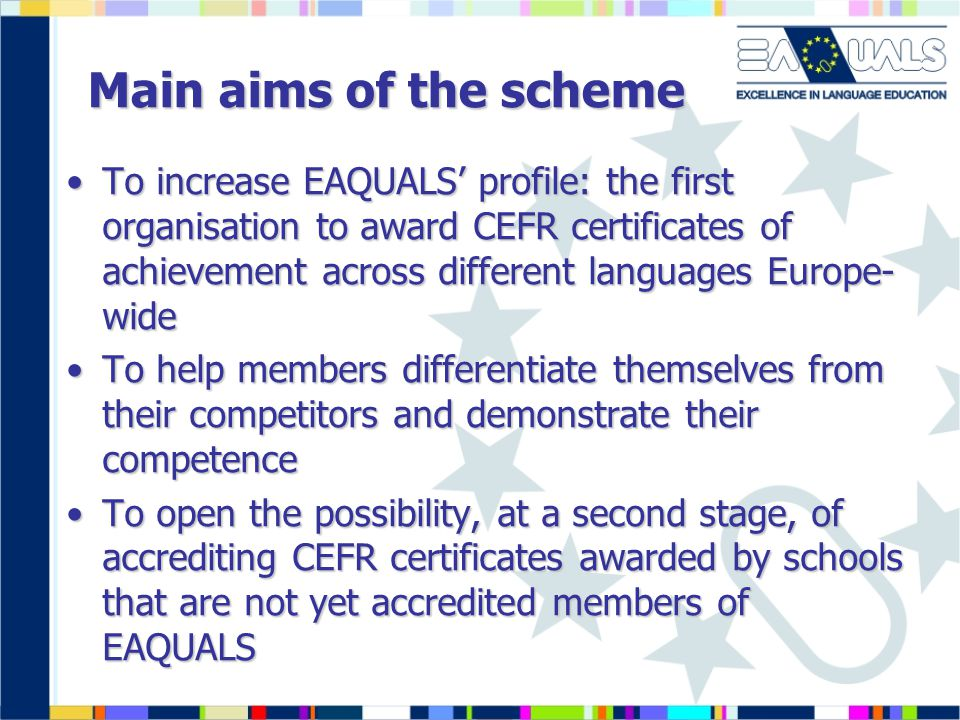 Main aims of the scheme