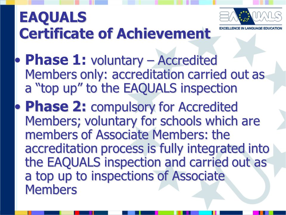 EAQUALS Certificate of Achievement