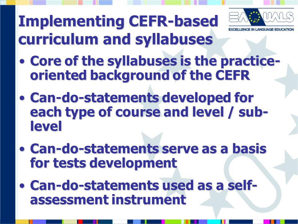 Implementing CEFR-based curriculum and syllabuses