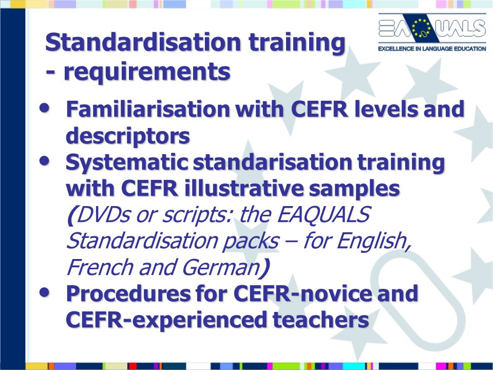 Standardisation training - requirements