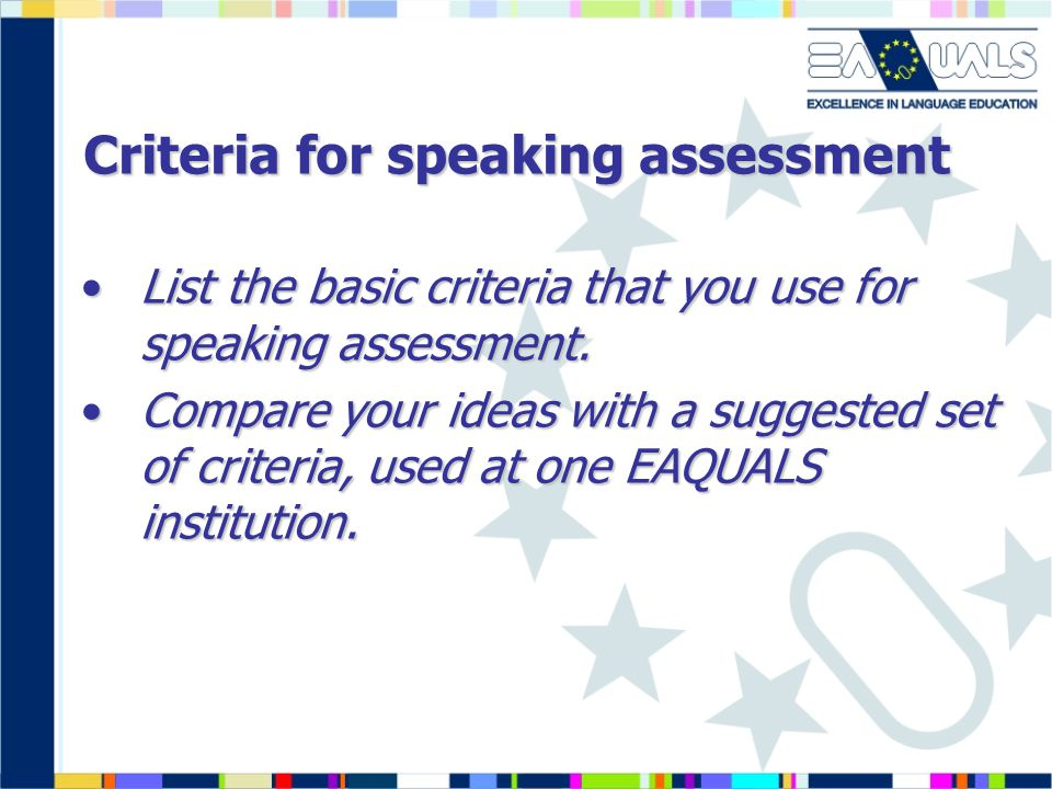 Criteria for speaking assessment