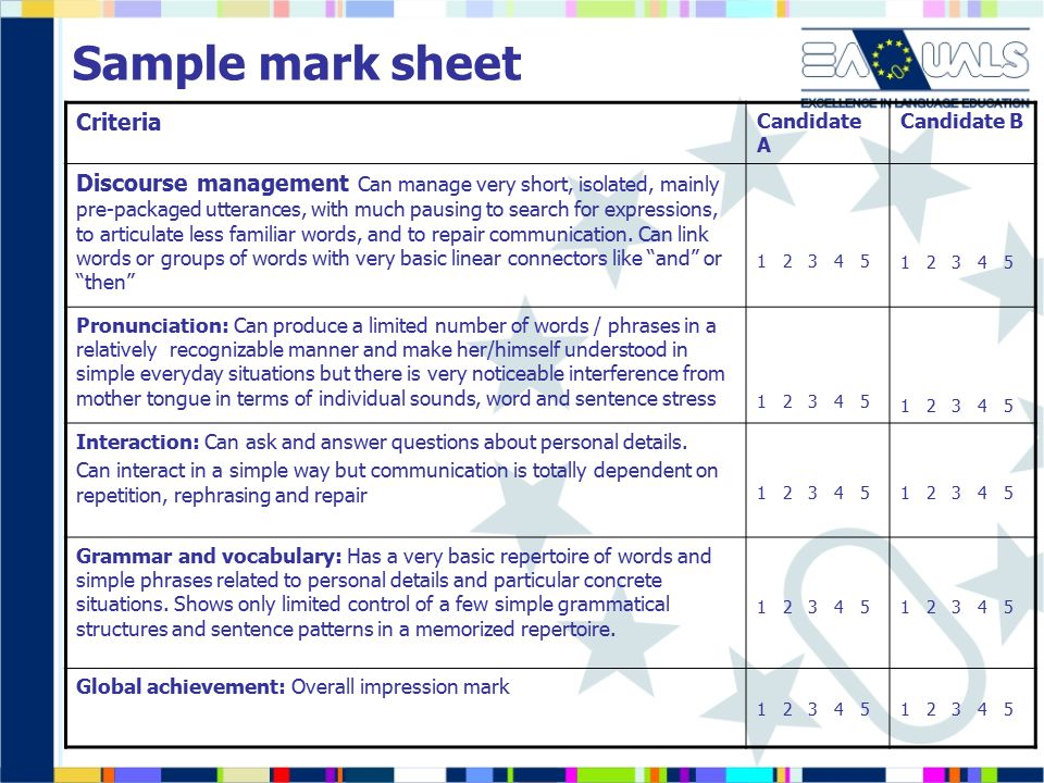 Sample mark sheet Criteria