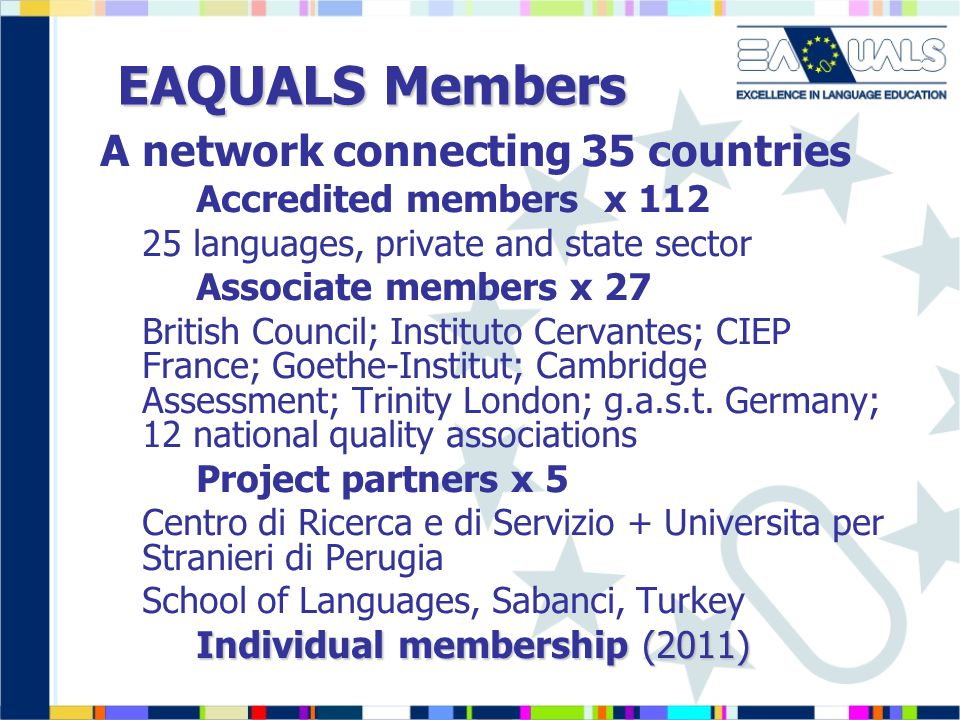 EAQUALS Members A network connecting 35 countries