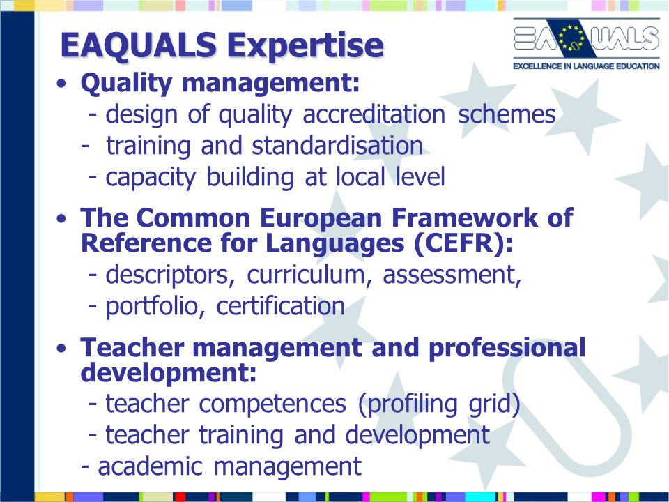 EAQUALS Expertise Quality management: