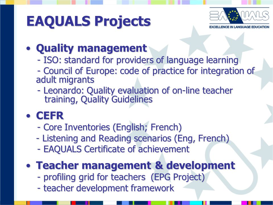 EAQUALS Projects Quality management CEFR